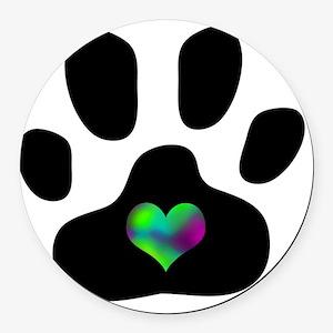 Rainbow Heart Pawprint Round Car Magnet