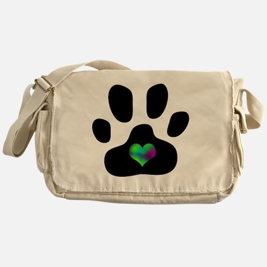 Rainbow Heart Pawprint Messenger Bag