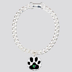 Rainbow Heart Pawprint Charm Bracelet, One Charm
