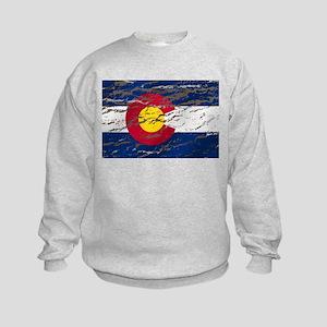 Colorado retro wash flag Kids Sweatshirt