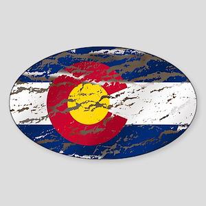 Colorado retro wash flag Oval Sticker