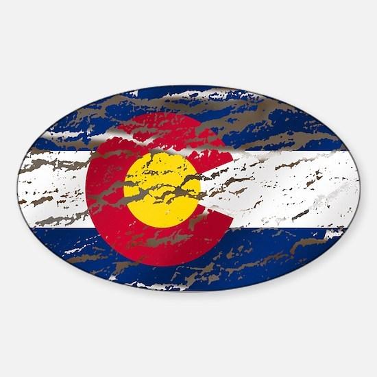 Colorado retro wash flag Oval Decal