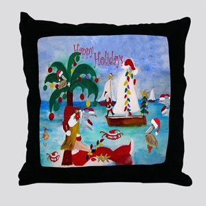 Christmas Boat Parade Throw Pillow