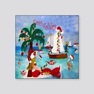 "Christmas Boat Parade Square Sticker 3"" x 3"""