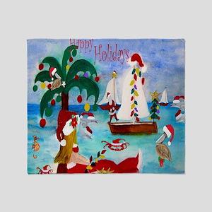Christmas Boat Parade Throw Blanket