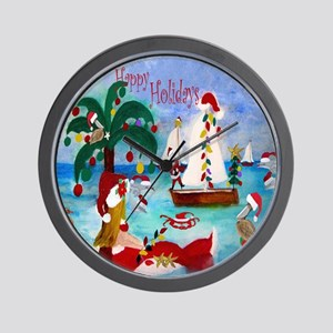 Christmas Boat Parade Wall Clock