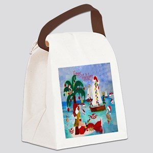 Christmas Boat Parade Canvas Lunch Bag