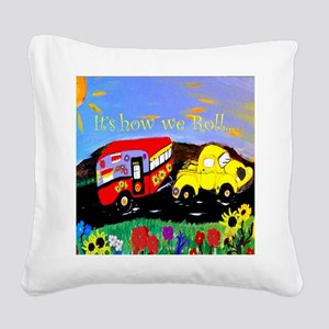 Vintage Camper and Truck Square Canvas Pillow