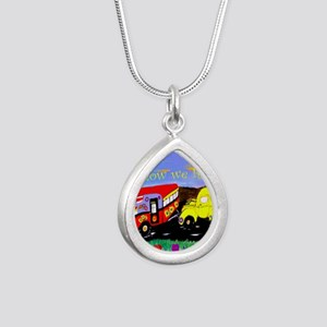 Vintage Camper and Truck Silver Teardrop Necklace