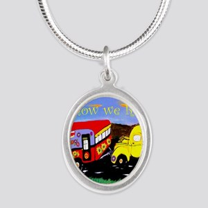 Vintage Camper and Truck Silver Oval Necklace