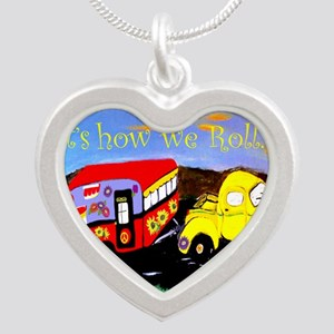 Vintage Camper and Truck Silver Heart Necklace