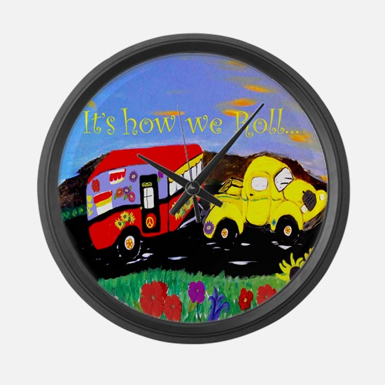 Vintage Camper and Truck Large Wall Clock
