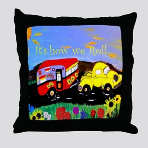 Vintage Camper and Truck Throw Pillow