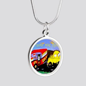 Vintage Camper and Truck Silver Round Necklace