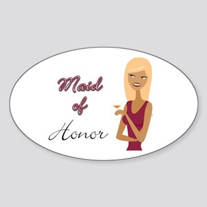 Mauve Maid of Honor Oval Sticker