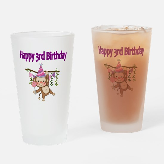 HAPPY 3rd  BIRTHDAY WITH CUTE MONKE Drinking Glass