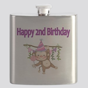 HAPPY 2nd  BIRTHDAY WITH CUTE MONKEY Flask