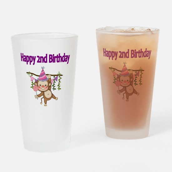 HAPPY 2nd  BIRTHDAY WITH CUTE MONKE Drinking Glass