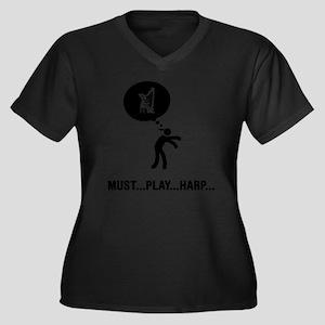 Harp-Player- Women's Plus Size Dark V-Neck T-Shirt