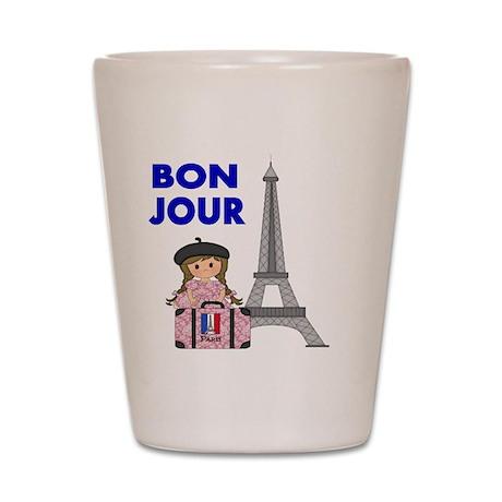 BON JOUR WITH LITTLE GIRL IN PARIS Shot Glass