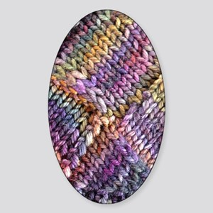 Entrelac Knit  multi-colored Sticker (Oval)