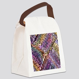 Entrelac Knit  multi-colored Canvas Lunch Bag