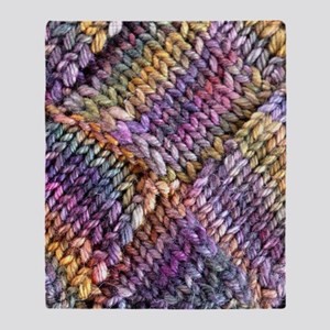 Entrelac Knit  multi-colored Throw Blanket