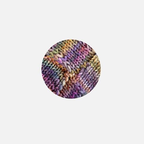 Entrelac Knit  multi-colored Mini Button