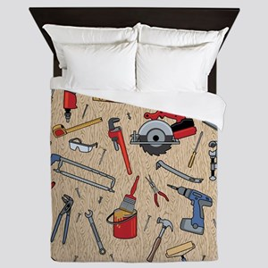 Work Tools on Wood Queen Duvet