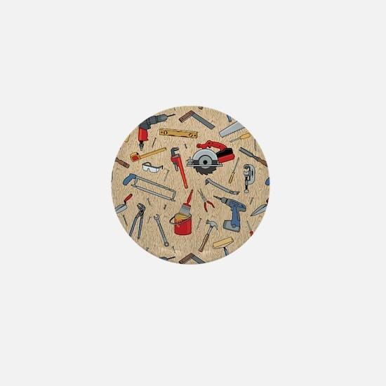 Work Tools on Wood Mini Button