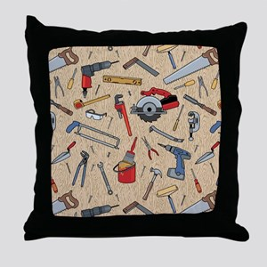 Work Tools on Wood Throw Pillow