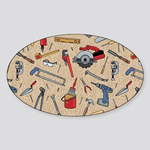 Work Tools on Wood Sticker (Oval)