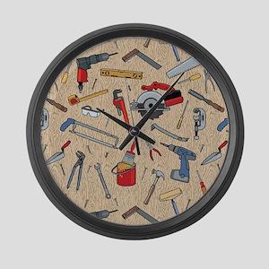 Work Tools on Wood Large Wall Clock