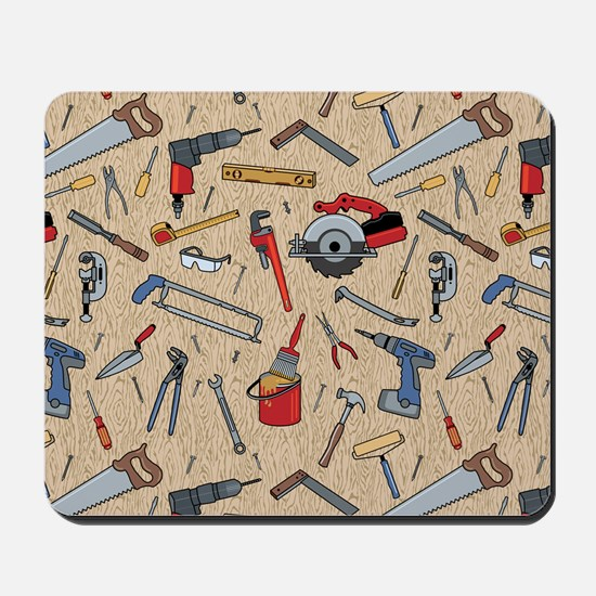 Work Tools on Wood Mousepad