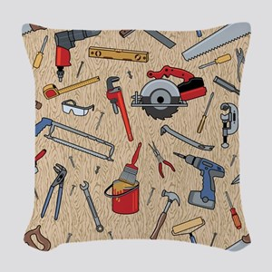 Work Tools on Wood Woven Throw Pillow