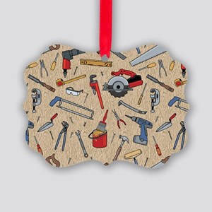 Work Tools on Wood Picture Ornament