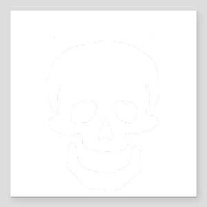 """Skull Headphones-2 Square Car Magnet 3"""" x 3"""""""