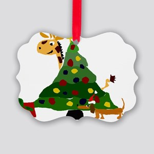 Giraffe and Dachshund Christmas A Picture Ornament