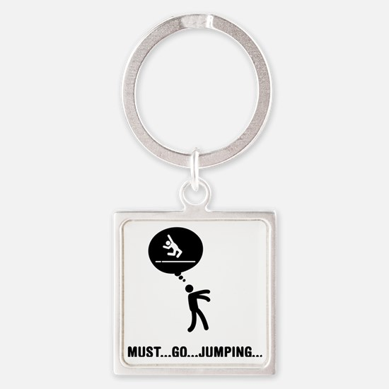 Long-Jump-C Square Keychain