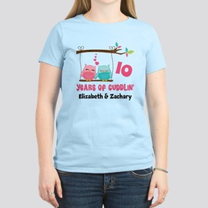 10th Anniversary 10 Years Owls Personalized T-Shir