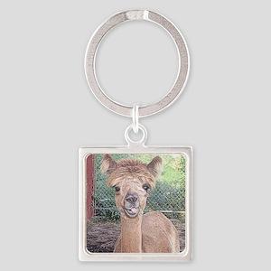 Alpaca Giving Raspberries Square Keychain