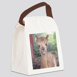 Alpaca Giving Raspberries Canvas Lunch Bag