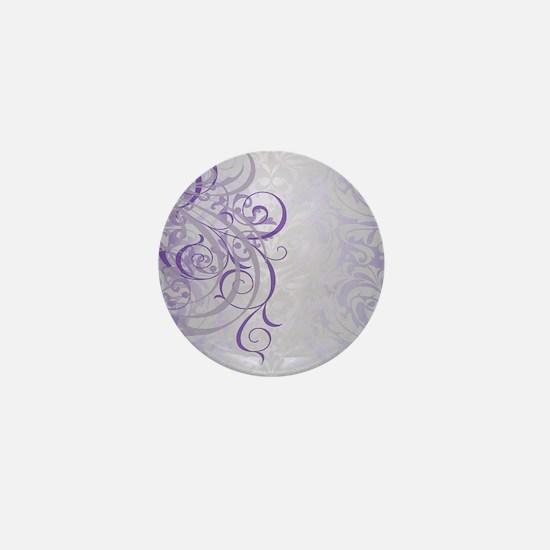 Vintage Rococo Purple Damask Mini Button