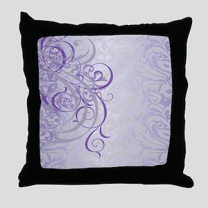 Vintage Rococo Purple Damask Throw Pillow