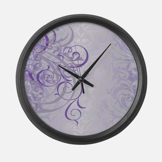 Vintage Rococo Purple Damask Large Wall Clock