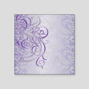 "Vintage Rococo Purple Damas Square Sticker 3"" x 3"""