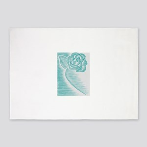 Baby Blue Rose 5'x7'Area Rug