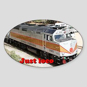 Just loco: railway, locomotive, Gra Sticker (Oval)