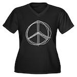 Peace Lines Women's Plus Size V-Neck Dark T-Shirt