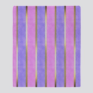 Pink, Blue and Gold Striped Throw Blanket